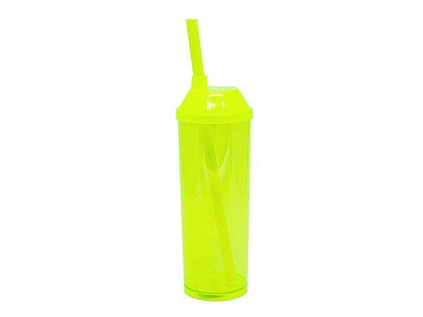 Copo Long Drink 300ml com Tampa e Canudo - Amarelo Neon (Translúcido)