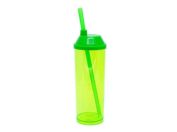 Copo Long Drink 300ml com Tampa e Canudo - Verde Neon (Translúcido)