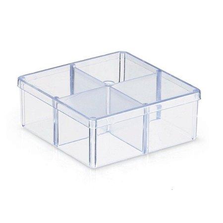 Caixa Organizadora Acrílico 4 Divisórias 7x7cm - Pacote c/10 unidades