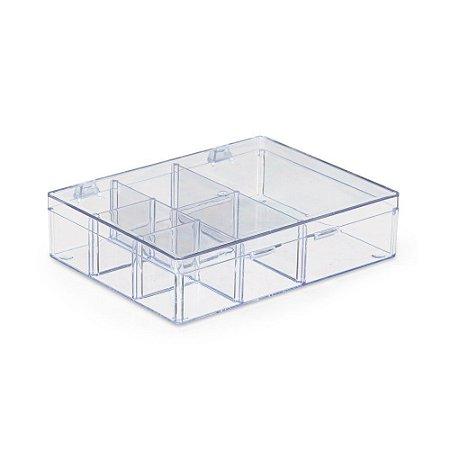 Caixa Organizadora Acrílico 6 Divisórias 14x10cm - Transparente