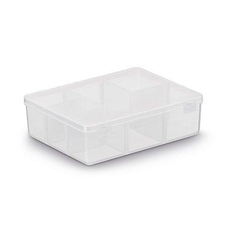 Caixa Organizadora 6 Divisórias 12x9,5cm - Transparente