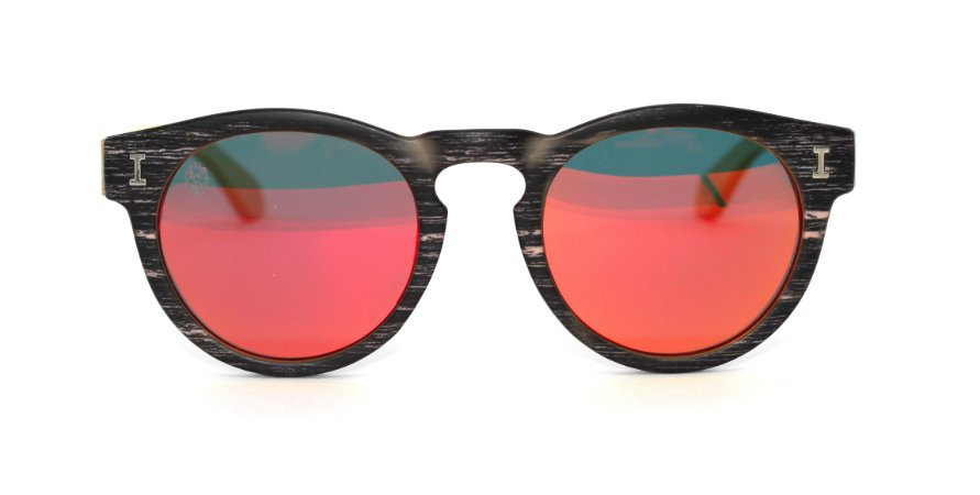 Óculos de Sol de Acetato com Bambu Leonor Black Red