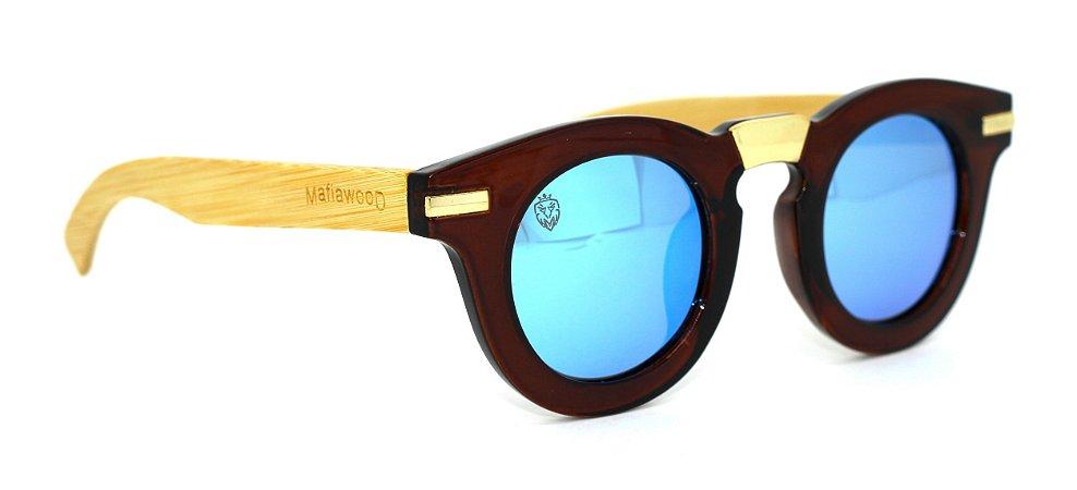 Óculos de Sol de Acetato com Bambu Carlota Brown Green
