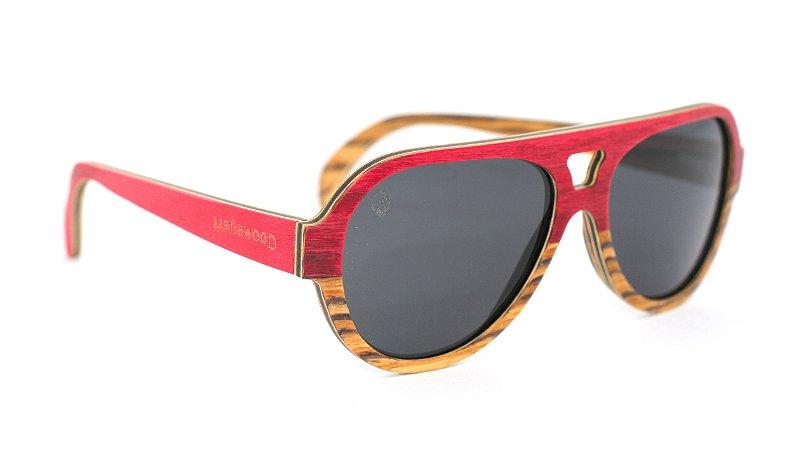 Óculos de Sol de Madeira Lupo Red