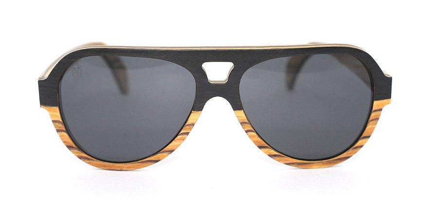 Óculos de Sol de Madeira Lupo Black