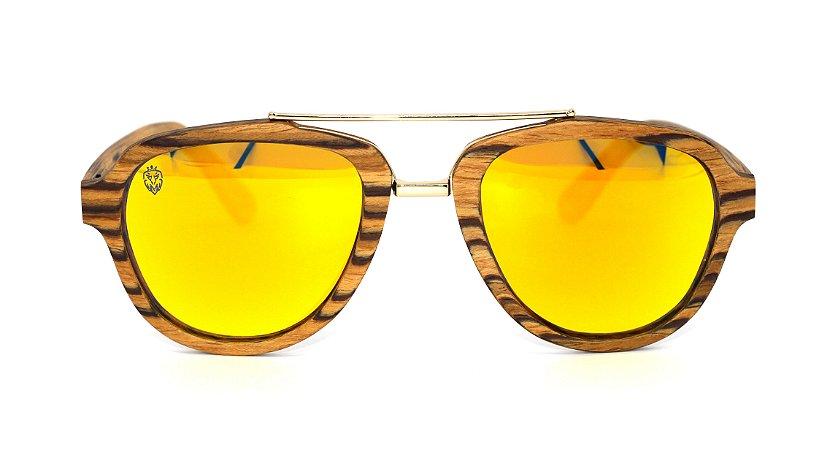 Óculos de Sol de Madeira e Metal Lepke Yellow