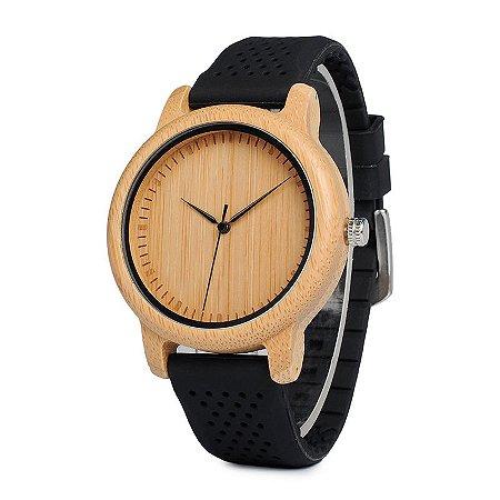 Relógio de Madeira e Bambu Jung Black