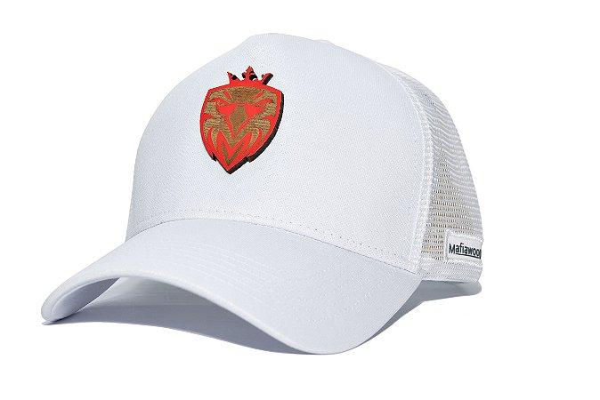 Boné MW Trucker Helanca Branco com Tela Branca - Logo Madeira Vermelha