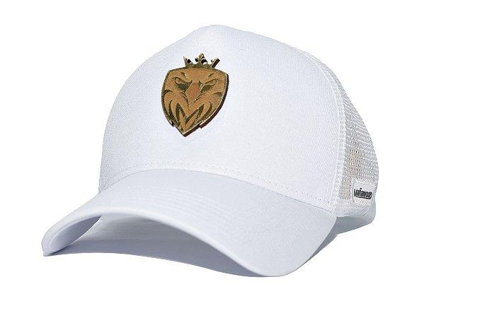 Boné MW Trucker Helanca Branco com Tela Branca - Logo Madeira Dourado