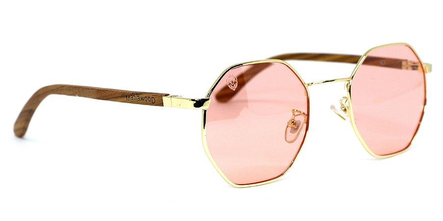 Óculos de Sol de Madeira e Metal Opal Pink