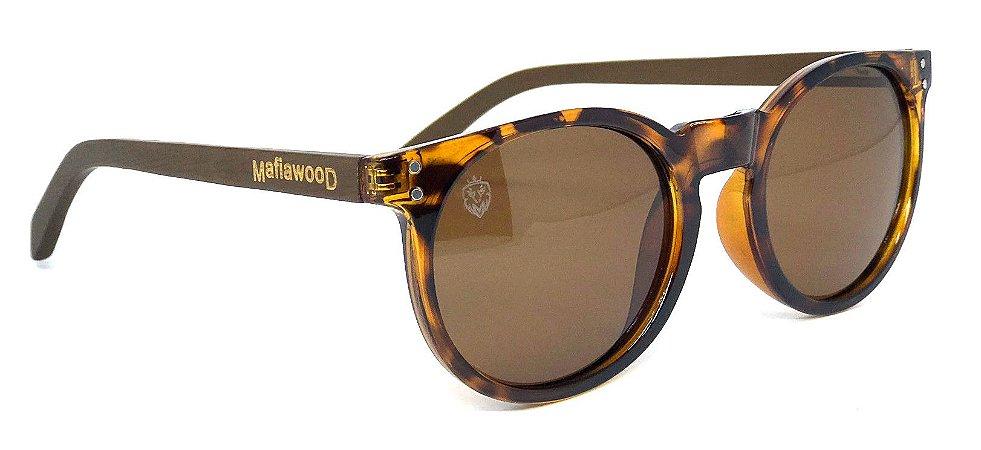 Óculos de Sol de Acetato com Madeira Milano