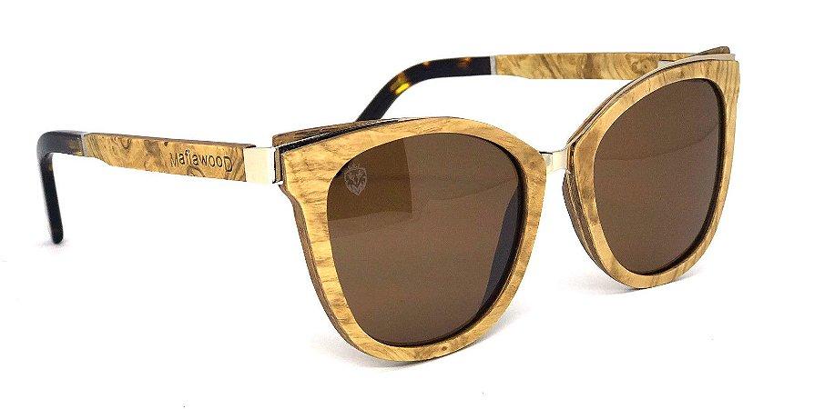 Óculos de Sol de Madeira e Metal Moccia Brown