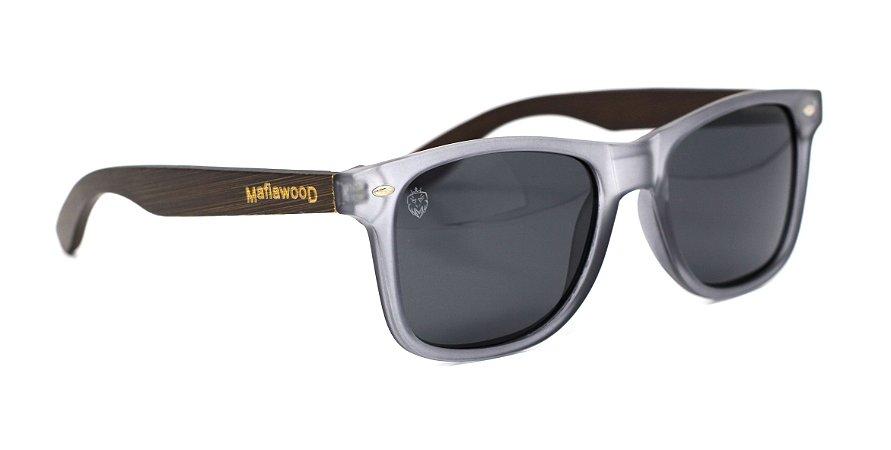 Óculos de Sol de Acetato com Madeira Maranzano Light Black