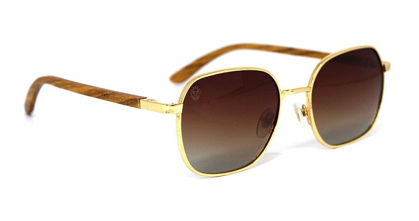 Óculos de Sol de Madeira e Metal Dion Gold Brown