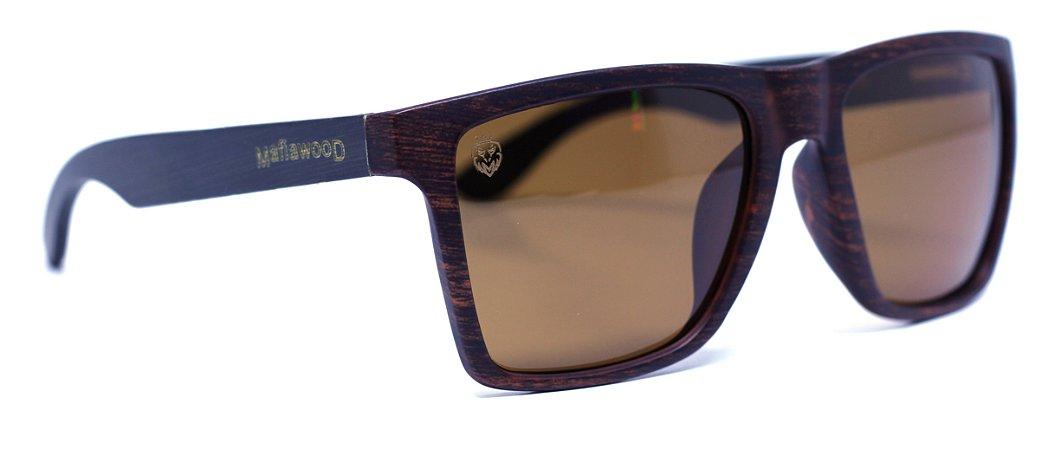 Óculos de Sol de Acetato com Bambu Giuseppe Black Brown