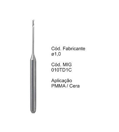 Fresa CAD CAM para Sistemas Tecnodrill - 010TD1C - Aplicação: PMMA / Cera
