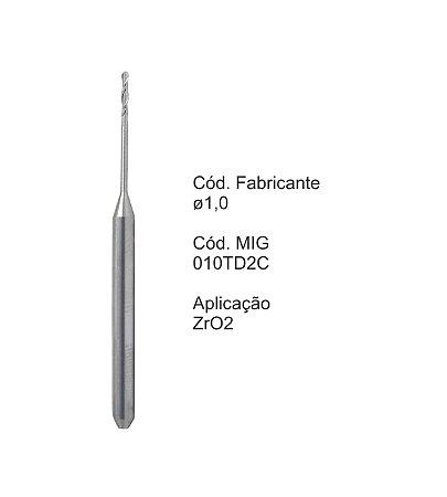 Fresa CAD CAM para Sistemas Tecnodrill - 010TD2C - Aplicação: Zircônia