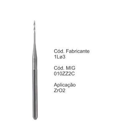 Fresa CAD CAM para Sistemas Zirkonzahn - 010ZZ2C - Aplicação: Zircônia