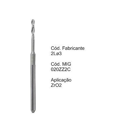 Fresa CAD CAM para Sistemas Zirkonzahn - 020ZZ2C - Aplicação: Zircônia
