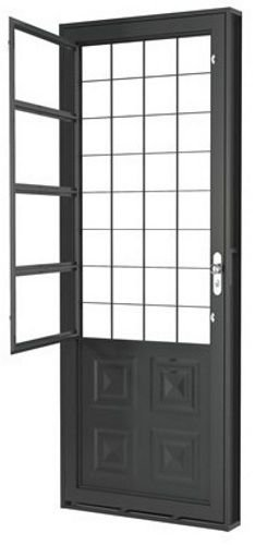 Porta c/ Postigo e Grade Quadrada - Romex