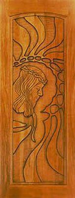 Porta Maciça Entalhada Cristo Cedro