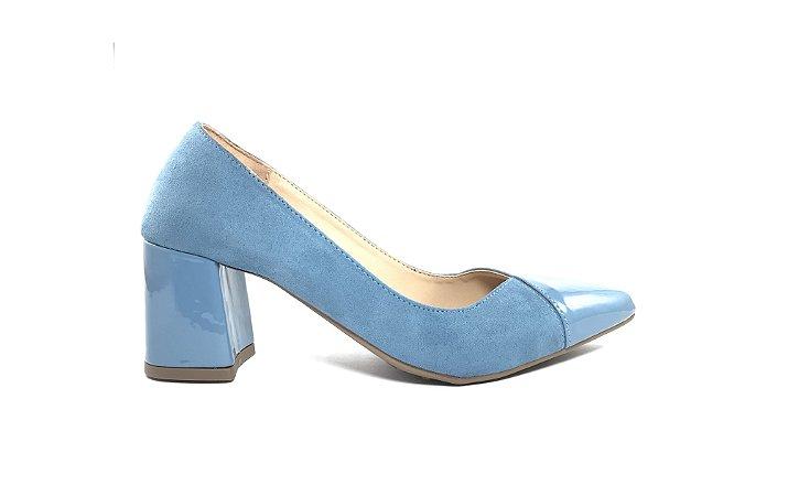 50d4939d64 Scarpin Salto Bloco Azul Bebê - Donnadela Calçados e Acessórios