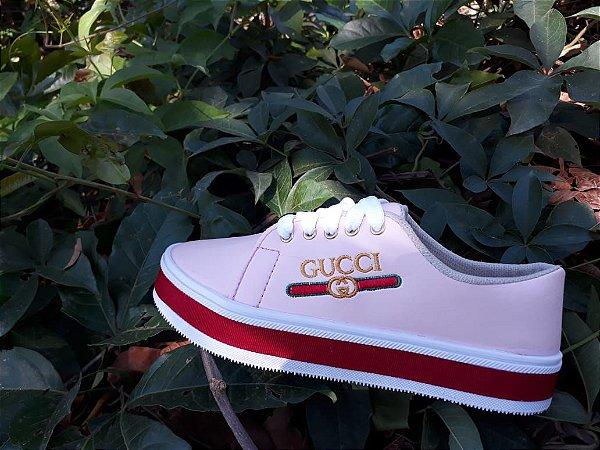 f7aa660d017 Tênis Gucci Sola Alta Rosê - CIA DOS PÉS