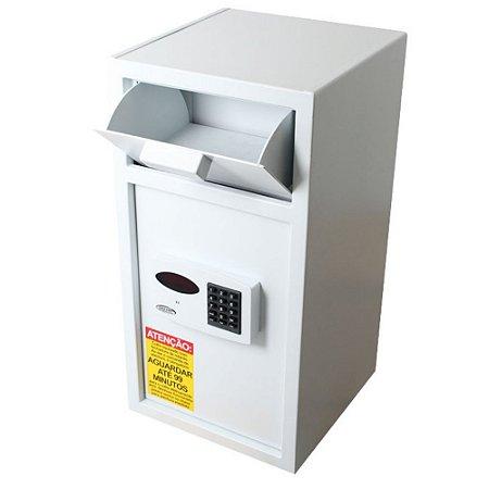 Cofre Digital Eletrônico Smart p/ Lotéricas Comércios Bancos Retardo de Abertura Boca De Lobo - Branco