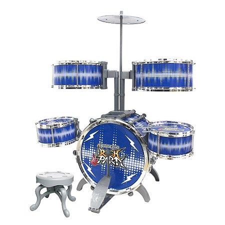 Bateria Infantil Rock Party Azul DM TOYS - DMT6068