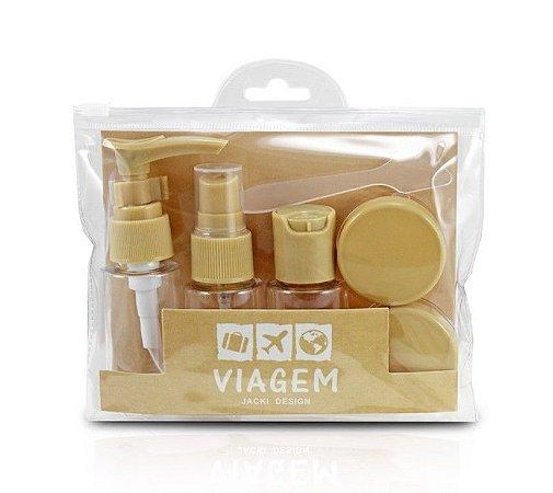Kit de Frascos para Viagem 7 Peças Bege Jacki Design - AKM20903