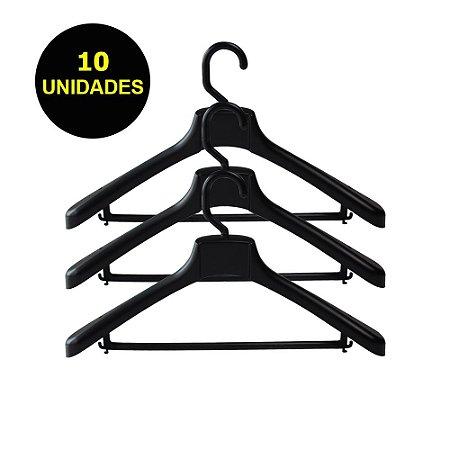 Cabide Plástico Black Kit 10 Unidades