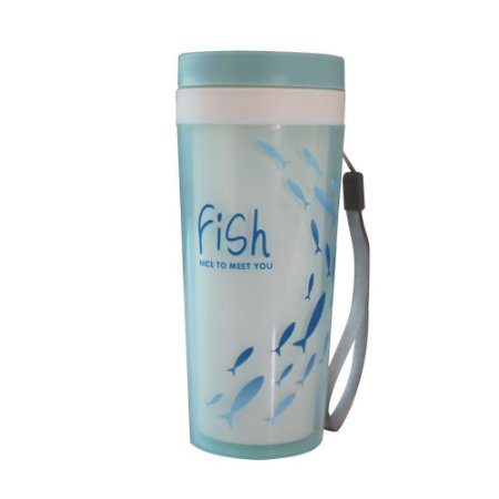 Copo com Tampa 300ml (Lifestyle) Jacki Design Azul Fish - AXD19773