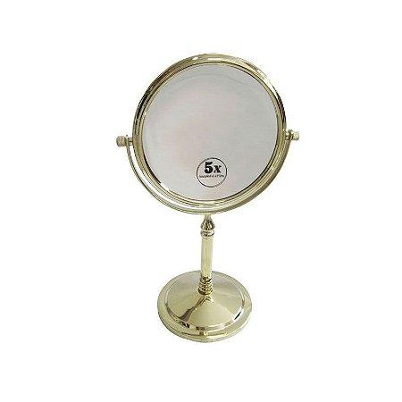 Espelho de Aumento Dupla Face com Base Panther PTH326-6 6 Polegadas - Dourado