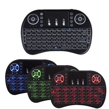 MINI TECLADO C/ LUZ RGB WIRELESS KEYBOARD SEM FIO MOUSE TOUCHPAD