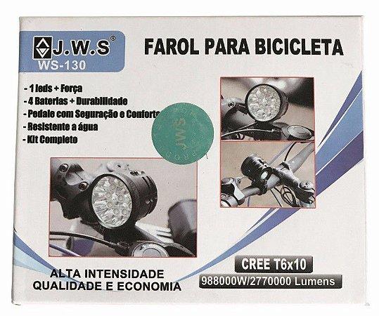 Super Lanterna Para Bike C/ Bateria E 10 Leds Forte Suporte
