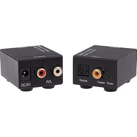 Conversor de Áudio Ótico Digital para RCA Analógico