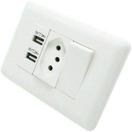 Tomada de parede duo USB com interruptor Soyan