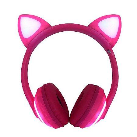 Fone de Ouvido Headphone Orelha de Gato Bluetooth com LED HF-C240BT Exbom