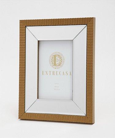 Porta Retrato em MDF Moldura Espelhado Detalhe Textura Ouro Velho 10x15cm 8755 - Entrecasa