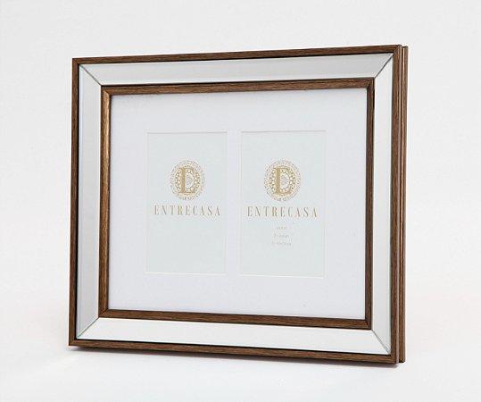 Porta Retrato em MDF p/ 2 Fotos Moldura Espelhado Detalhe Bronze 10x15cm 8752 - Entrecasa