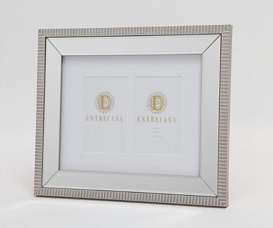 Porta Retrato em MDF p/ 2 Fotos Moldura Espelhado Detalhe Textura Prata Velho 10x15cm 8757 - Entrecasa