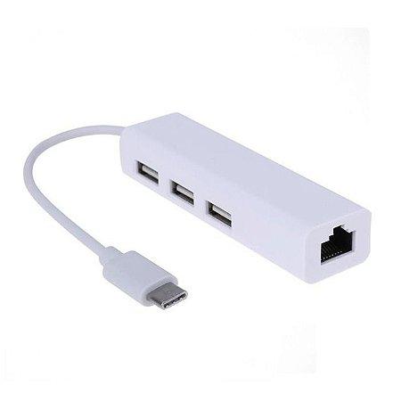 Porta Usb C Rj45 Lan Com 3 Portas Usb 2.0 Hub Apple Mac