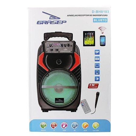 Caixa de Som 40w Rádio USB Micro SD Bluetooth Portátil LED GRASEP - D-BH8103