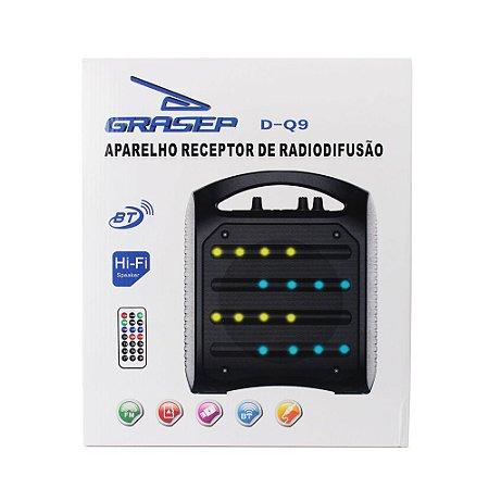 Caixa de Som 20w Rádio USB Micro SD Bluetooth Portátil GRASEP - D-Q9