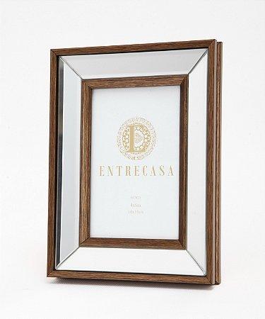 Porta Retrato em MDF Moldura Espelhado Detalhe Bronze 10x15cm 8750 - Entrecasa