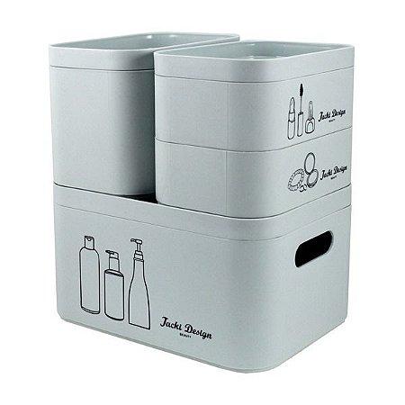 Kit Organizador Beauty de 4 Peças (Cozy) Jacki Design - AGN19795 Cor:Azul