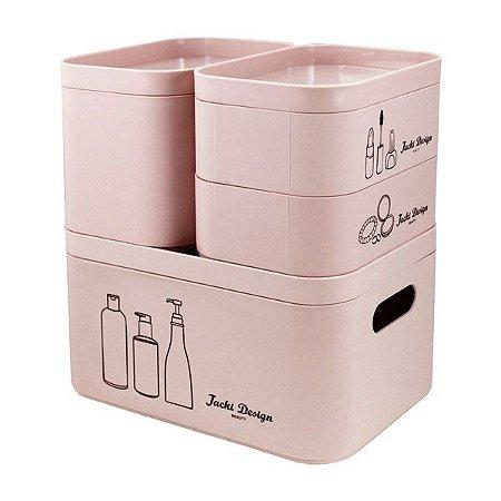 Kit Organizador Beauty de 4 Peças (Cozy) Jacki Design - AGN19795 Cor:Rosa