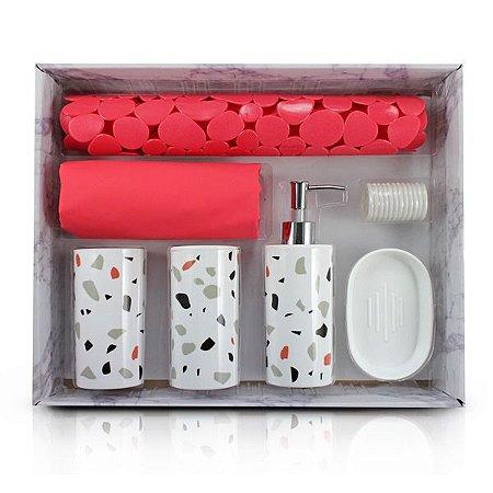 Kit de Banheiro Completo de 7 Peças (Cozy) Jacki Design - AAP19793 Cor:Vermelho