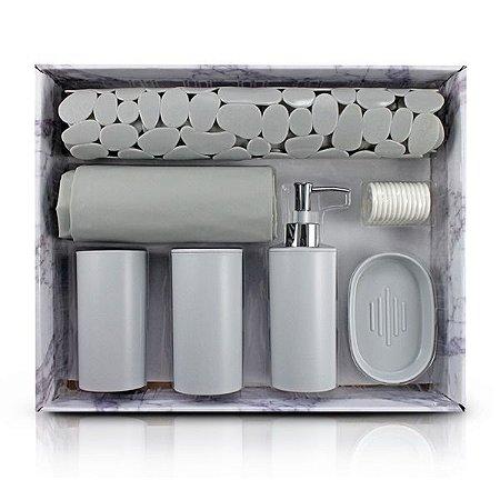 Kit de Banheiro Completo de 7 Peças (Cozy) Jacki Design - AAP19793 Cor:Cinza