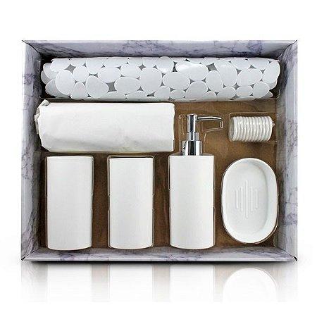 Kit de Banheiro Completo de 7 Peças (Cozy) Jacki Design - AAP19793 Cor:Gelo